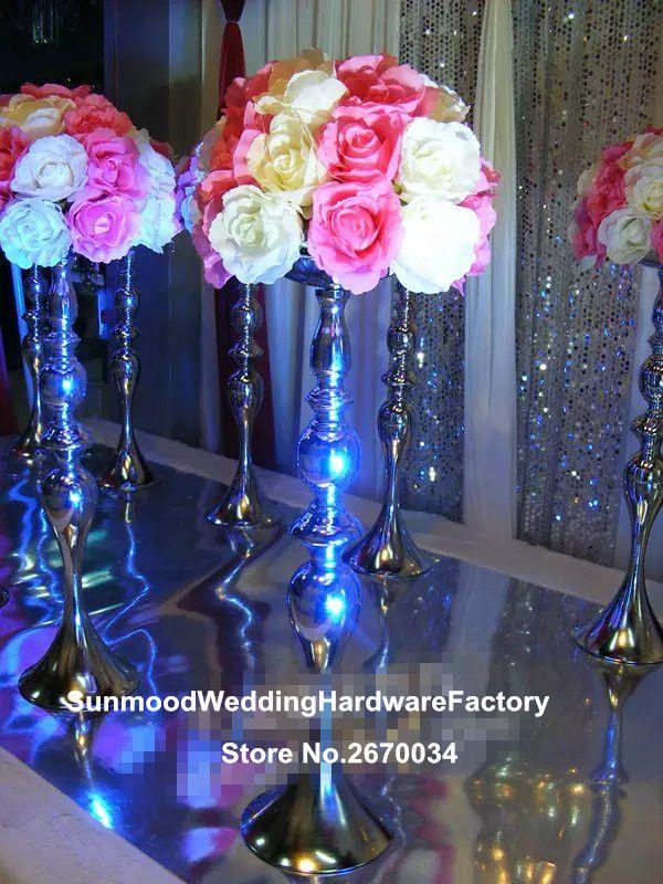 Slim Metal Flower Vase Trumpet Vases Centerpieces For Wedding
