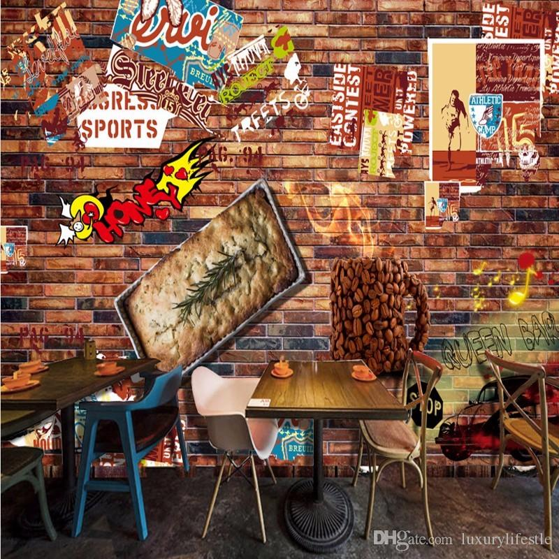 3d stereo custom coffee burger brick background living room lobby hotel restaurant wallpaper office decoration mural babe wallpaper baby wallpaper from - Brick Hotel Decoration