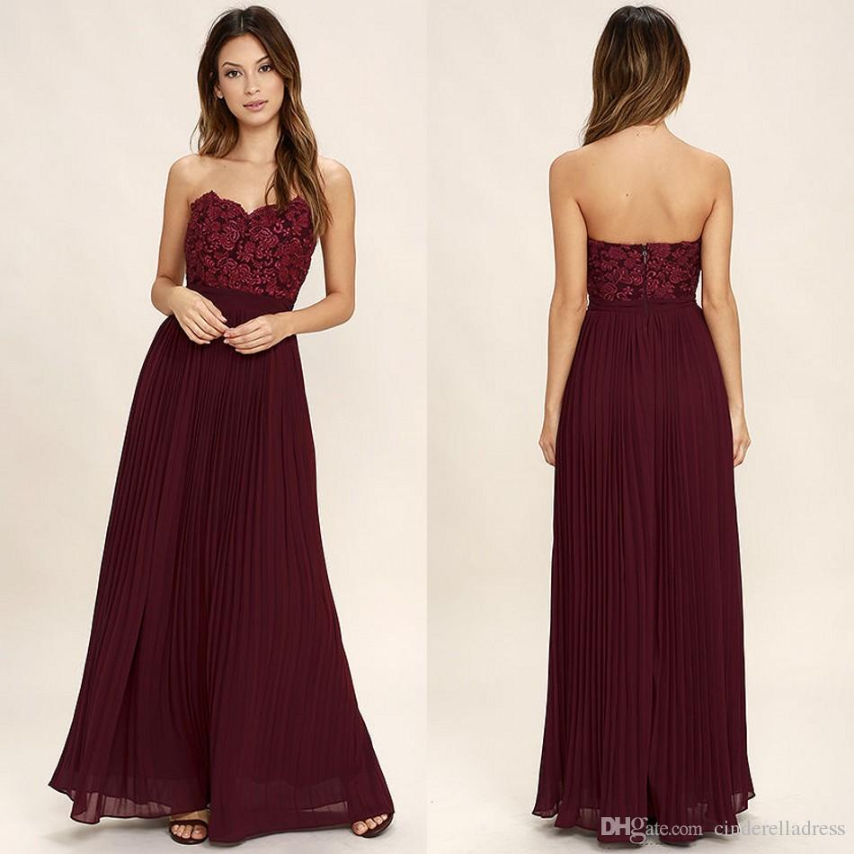 2018 Cheap Bridesmaid Dresses Burgundy Sweetheart A Line Chiffon Strapless  Wrinkle Skirt Open Back Wedding Maid Of Honor Prom Gowns Gowns Dresses  Jasmine ... ab37892e2851