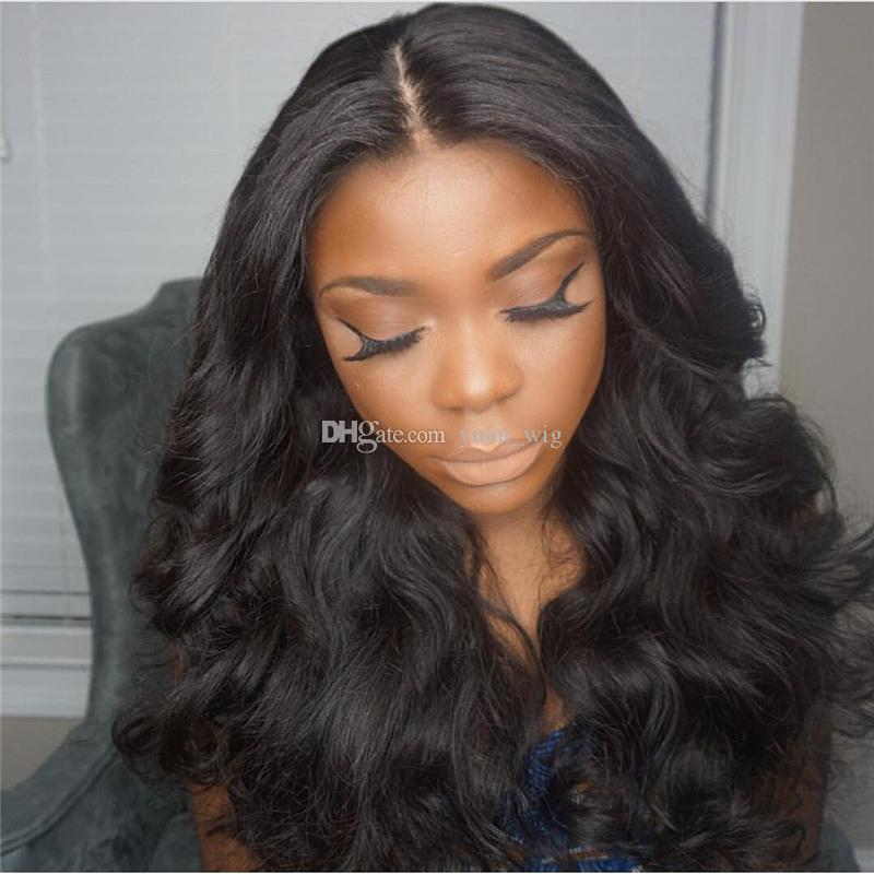 Brazilian Full Lace Wigs Human Hair Wigs Middle Part Body Wave Hair Wigs for BLack Women Natural Color