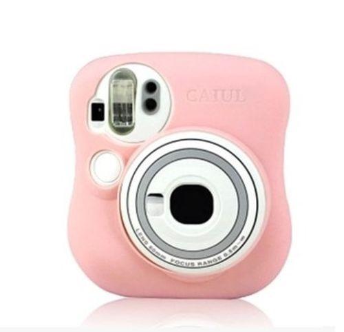 Светящиеся светлые силиконовые камеры сумка для Fujifilm Polaroid Instax Mini25 розовый / белый