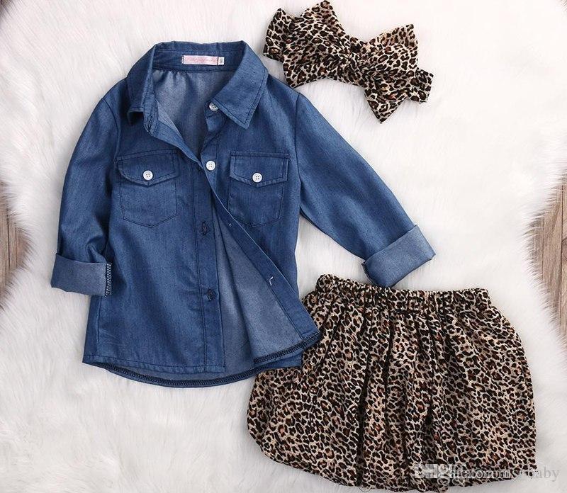 Sistemas de la ropa del verano de la muchacha Toddler Denim Tops azules + trajes de la falda del leopardo diadema del arco grande del leopardo fijados