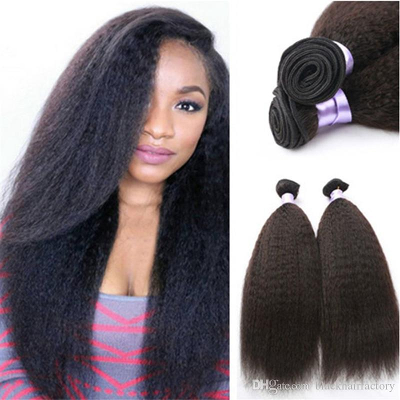 Malaysian Kinky Straight Hair Coarse Yaki Hair Wefts Natural Black