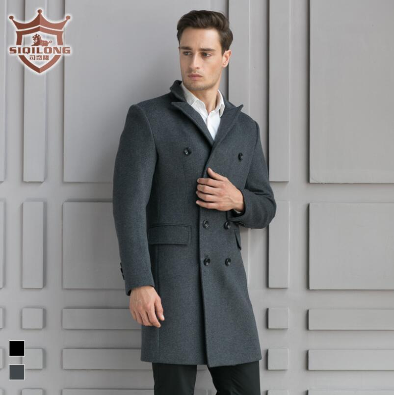 2018 Wholesale Siqilong Black Grey Medium Long Wool Coat Men ...