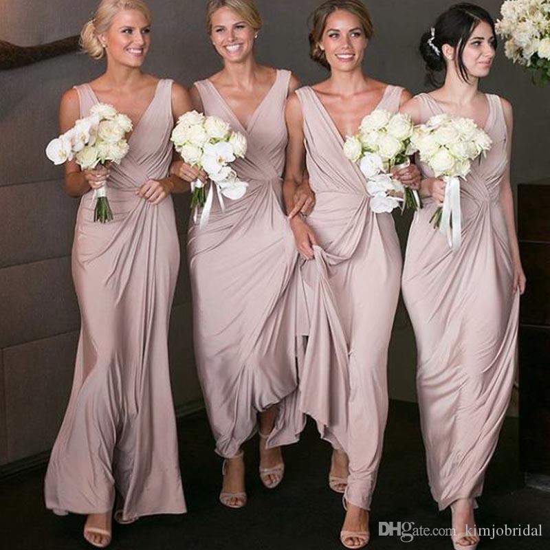 10d42db385d Cheapest Bridesmaid Dresses Champagne 2017 V Neck Pleats Draped Floor  Length Long Maid Of Honor Dresses Wholesale Bridesmaid Dresses Wrap Bridesmaid  Dress ...