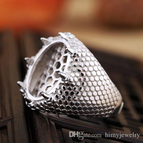 Арт-деко настоящее стерлингового серебра 925 12x16mm Овальный кабошон полу крепление кольцо установка ювелирных изделий белого золота покрытием