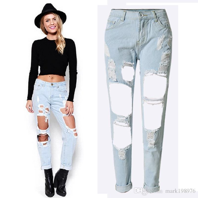 c23202ed7804e 2019 Boyfriend Hole Ripped Jeans 2017 Fashion Women Pants Cotton Denim Pants  Vintage Straight Jeans For Girls Plus Size PT011 From Mark198976
