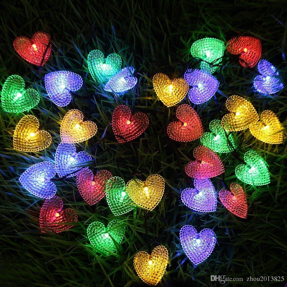 2018 30led crystal heart shaped outdoor christmas decoration color string lights197ft solar powered heart shaped lights from zhou2013825 1682 dhgate