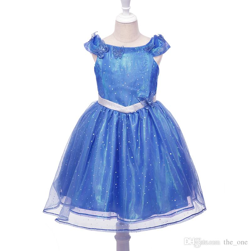 Blaues Mädchen-Aschenputtel-Kleid-Pailletten-Tulle-Prinzessin Butterfly Tutu-Kleid-Partei-Halloween Cosplay Cinderella-Kostüm geben Verschiffen frei