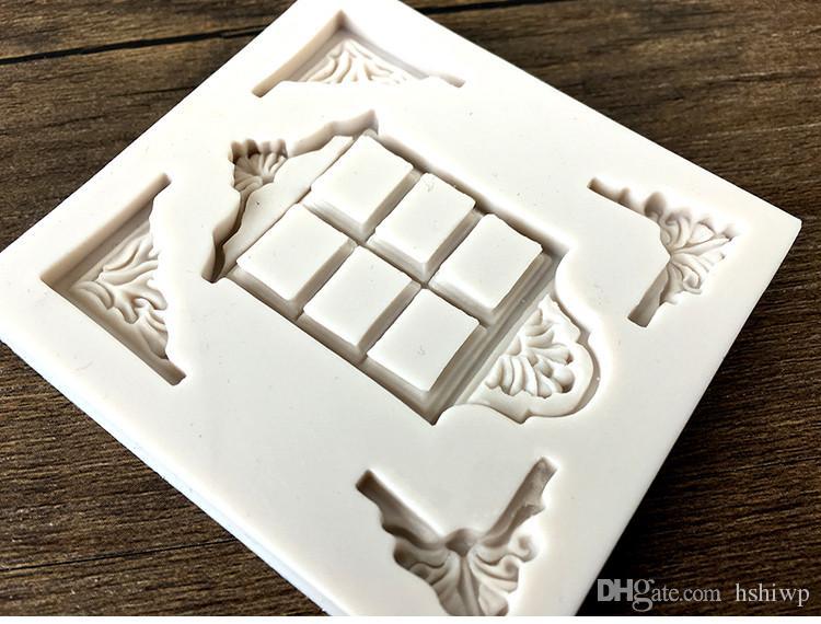 Gelişmiş Gıda Sınıfı Silikon Retro pencere köşe çiçek Fondan Kek Silikon Kalıp DIY Pişirme Kalıp Mutfak Aksesuarları Kek Dekorasyon Araçları