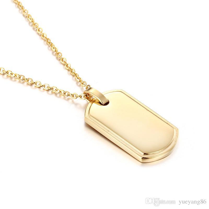 Nuovissimo design di Charme Design in acciaio inox enorme dog tag Army card pendente uomo da donna regali collana 24 '' oro