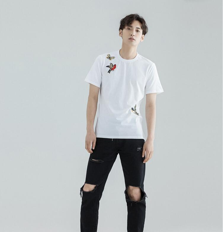 Wholesale brand luxury t shirts for men short sleeve tide embroidery white tshirts for men o neck butterfly male t shirts