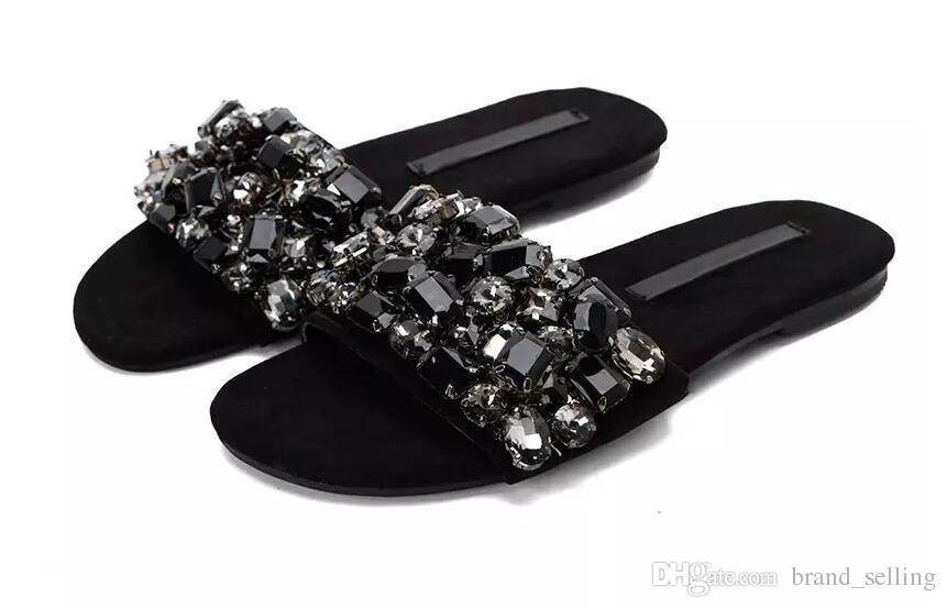 2017 Moda Feminina Sapatos Baixos Strass Beading Slides De Cristal Embellished Sandálias Sexy Black Beach Shoes Mulher Foto Real flip flop
