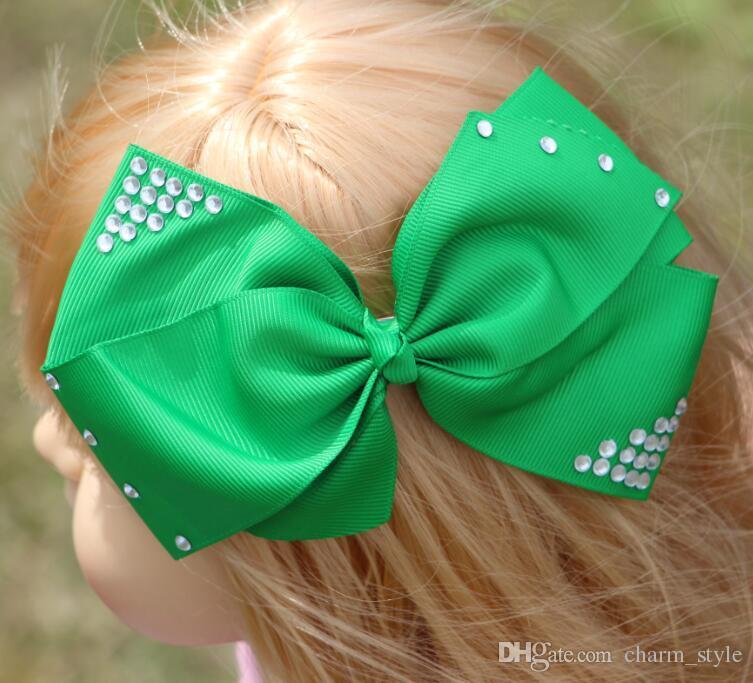 5.8inch jojo Pretty Girls hair bow with clip Solid Grosgrain Hair Bow With Rhinestone Hair Accessories /