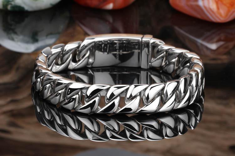 Pure Titanium Jewelry Men Fashion Curb Cuban Link Chain Bracelets High Polished Wristbands Bangle Pulseras Brace lace 20cm & 22cm*1.2cm