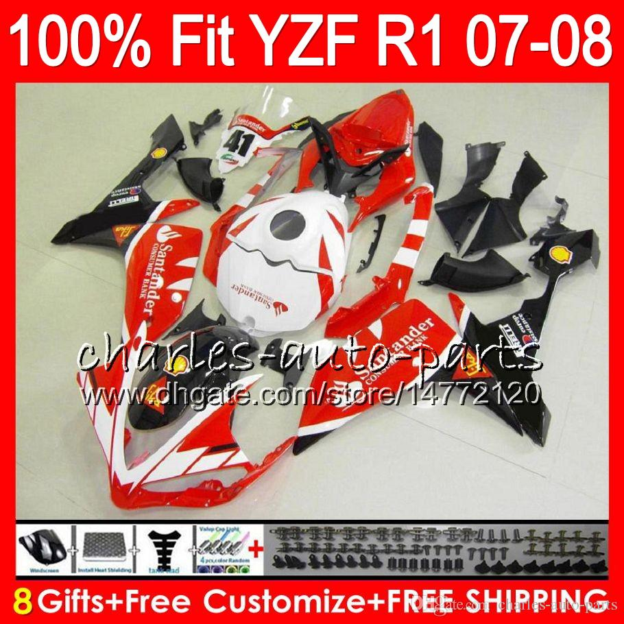 8Gifts Injection For YAMAHA YZF1000 YZF-R1 2007 2008 YZF R 1 Santander red 37NO71 YZFR1 07 08 YZF 1000 YZF R1 07-08 YZF-1000 Fairing