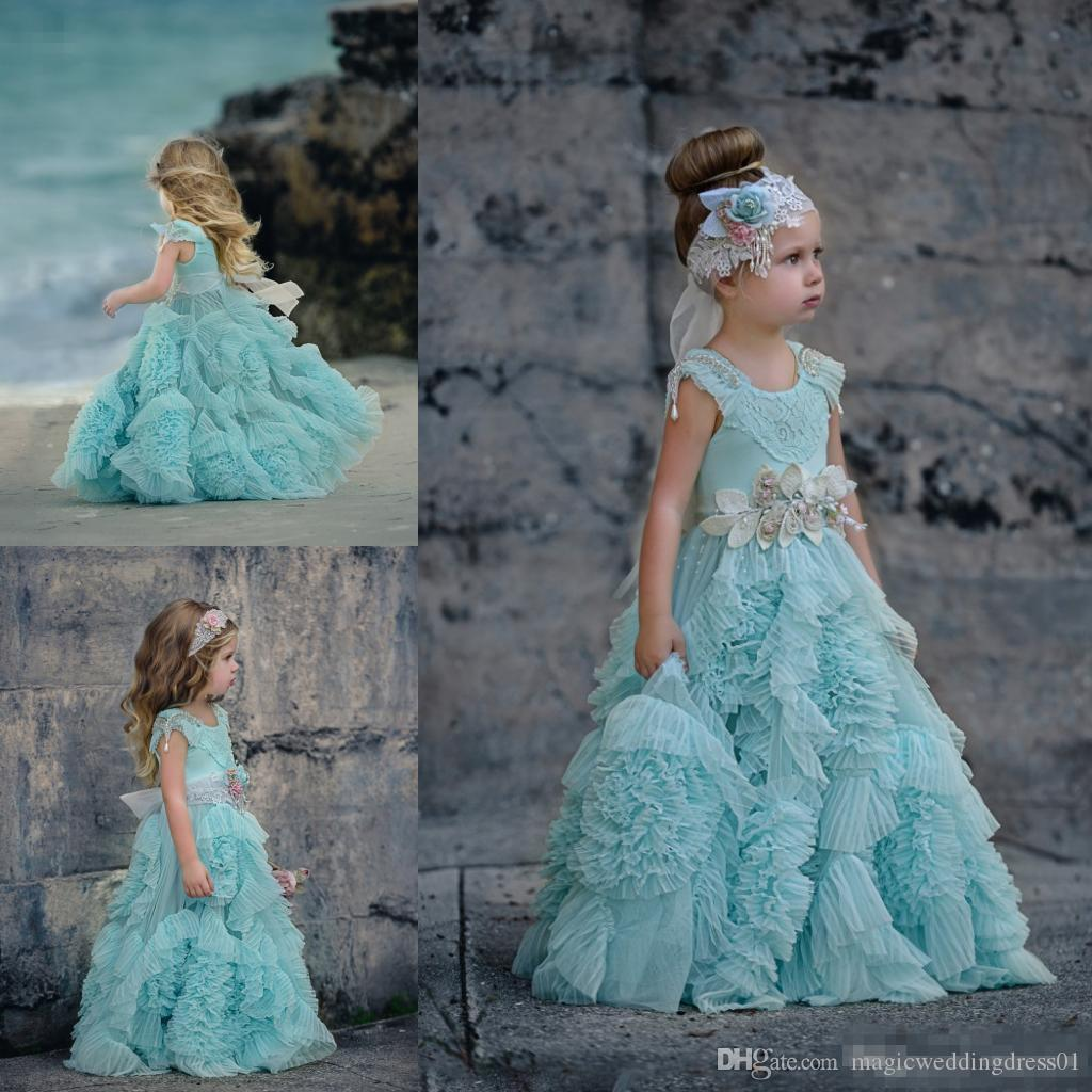 Cheap Ruffles Flower Girls Dresses For Weddings Crystal Jewel Neck ...