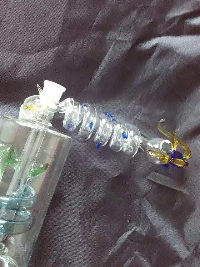 8Spiral кран , оптовые стеклянные бонги стекла кальян дым труба аксессуары