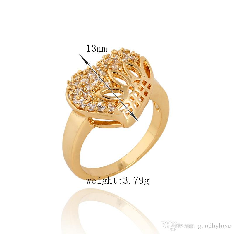 Valentines Hot Gift 18K Yellow Gold Plated Romantic Hollow Heart Clear Crystal Cluster Engagement Wedding Finger Ring for Women