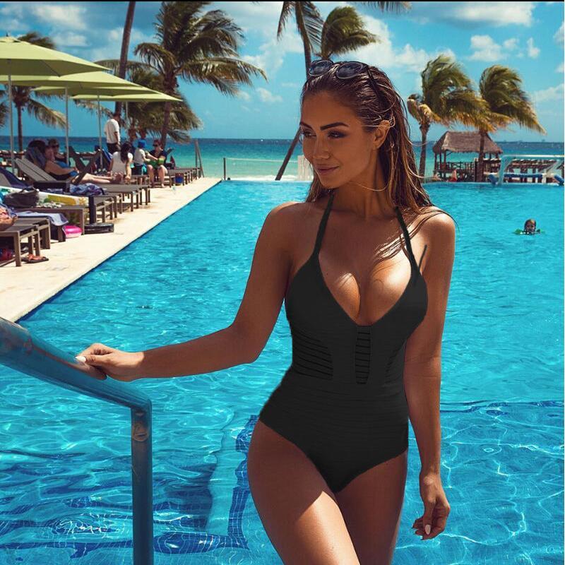 New Style Lace Monokini Swimsuit Bandage Hollow-Carved Bikinis Set Halter Top Push Up Bathing Suit Swimwear Biquini