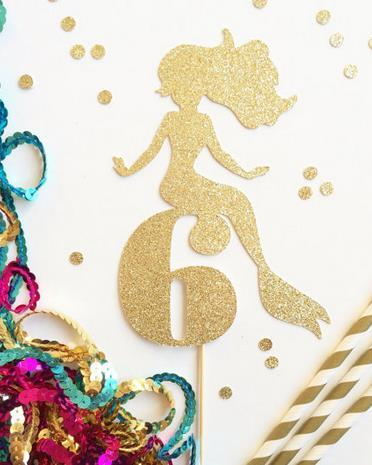 Custom Personality Glitter Mermaid Age Number Or Intial Cupcake Toppers Food Picks Girls Birthday Party Cake