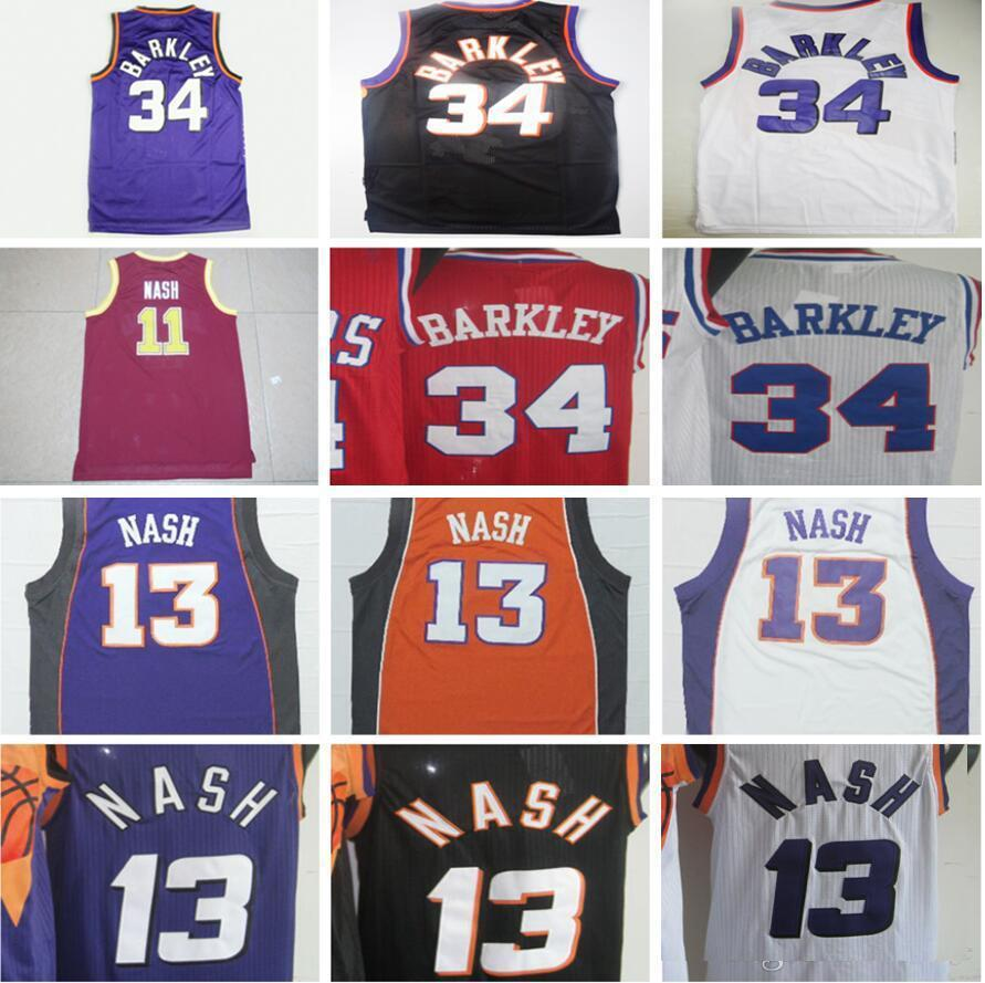 on sale 7e59a 9ac25 Throwback #34 Charles Barkley Basketball Jerseys #13 Steve Nash Jersey  College #11 Nash Red Shirt Black Yellow Purple White Retro