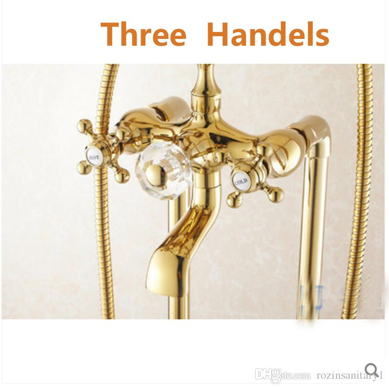 Luxury Golden Brass Shower Faucet Floor Mounted Tub Filler Mixer Tap W/ Hand Tap