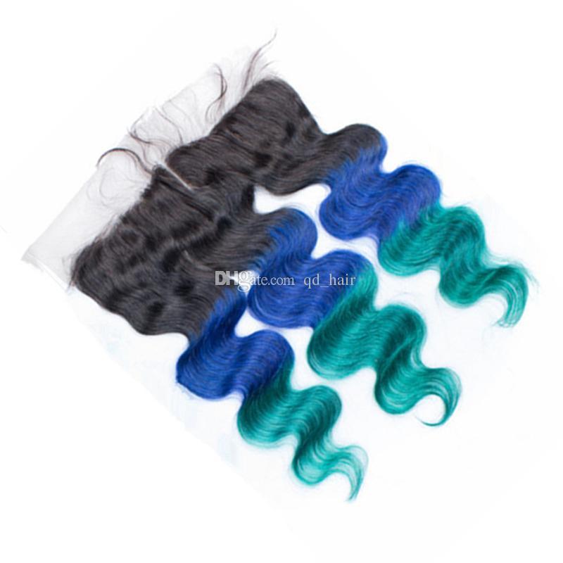 1b الأزرق والأخضر حزم الشعر البشري مع الدانتيل أمامي 13x4 كامل الرباط أمامي مع أومبير تيل الجسم موجة متموجة لحمة