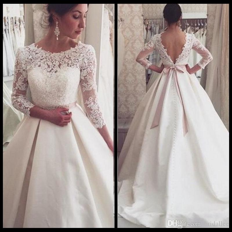 Cheap Wedding Dresses Made In China A Line Robe De Mariage Ivory Satin With Long Sleeve Bridal Gowns