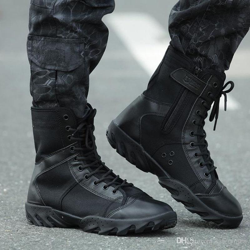 Hellozebra Fashion Boots Black Air Mesh Outdoor Men Combat