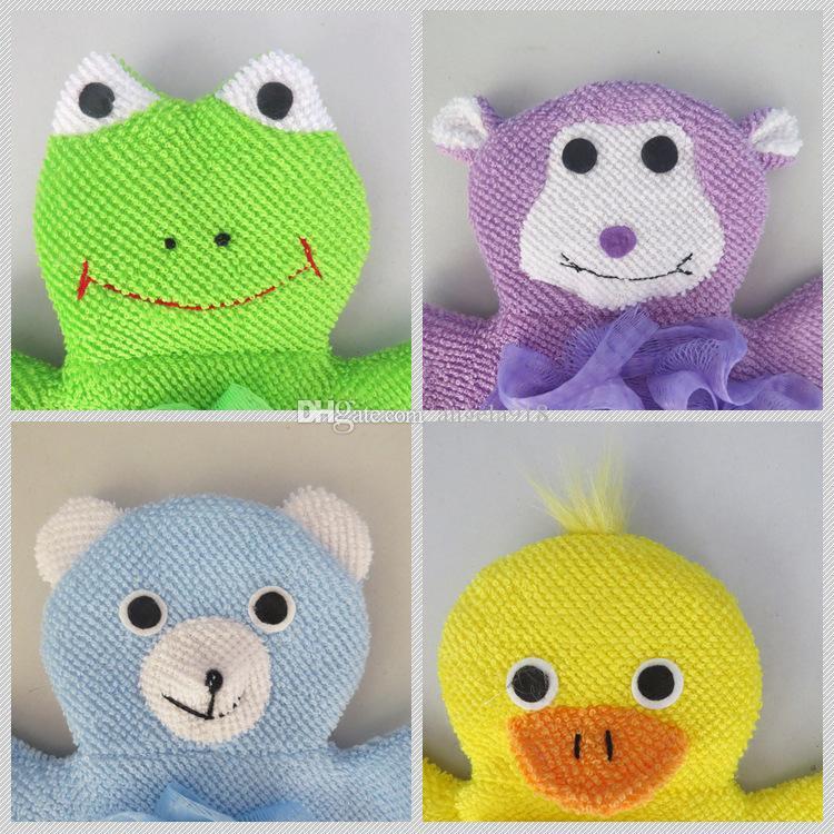 Animales de dibujos animados baño de los cabritos de la manopla de la rana mono pato niños que lavan guantes de baño del baño del bebé Rub Towel C2031