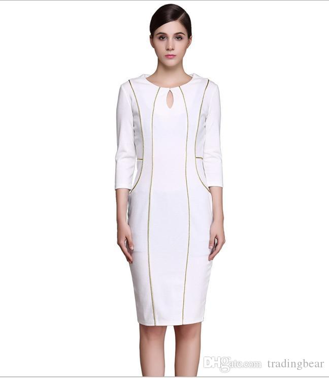 Plus Size Formal White Gold Piping Borders Knee-length Pencil Dresses Women Bodycon Clothing