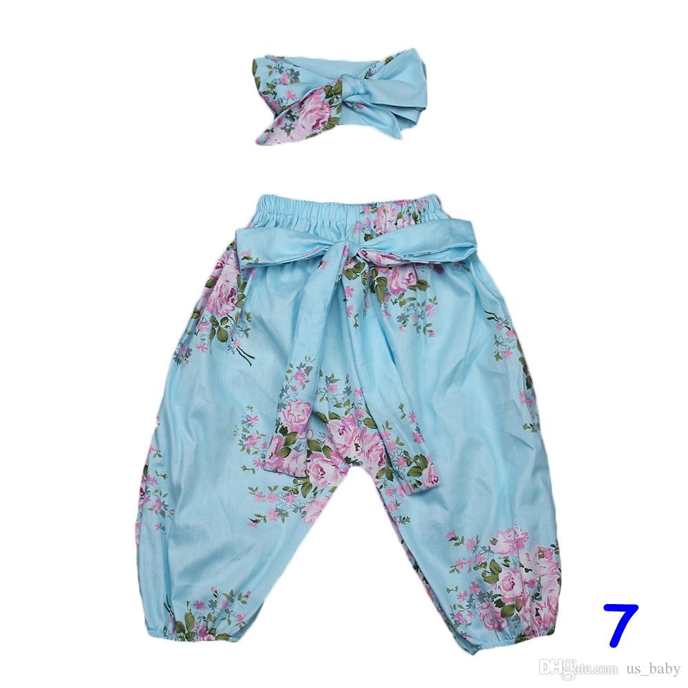 Kızlar Harem Pantolon kafa seti Bebek Pamuk çiçek baskı Elbise Bebek Yay ile Sevimli Yay Bandı Giyim Set Çiçek Pantolon setleri