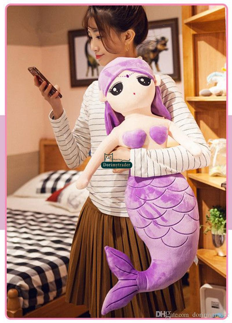 Dorimytrader Big Lovely Cartoon Beauty Mermaid Plush Doll Fashion Stuffed Soft Sea-maid Toy Pillow Girl Present 31inch 80cm DY60234