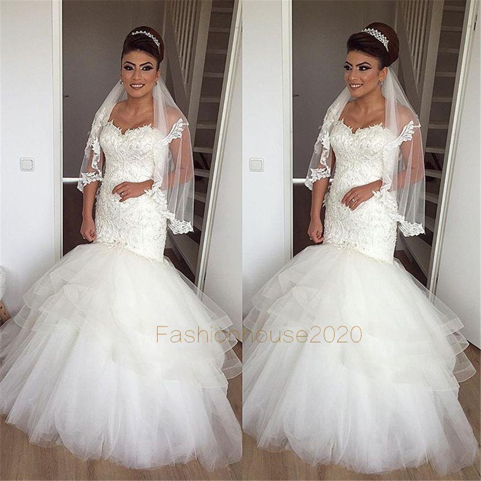 Abiti da sposa a sirena in pizzo avorio con applicazioni a cuore Abiti da sposa corsetto sexy Abito da sposa taglie forti Custom Made
