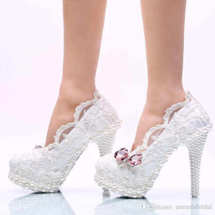 c8dd0be80f Sapato Meia Pata Atacado Sapatos De Cinderela De Renda Branca Prom Noite De  Salto Alto Beading Strass Nupcial Da Dama De Honra Sapatos De Casamento  Feitos À ...