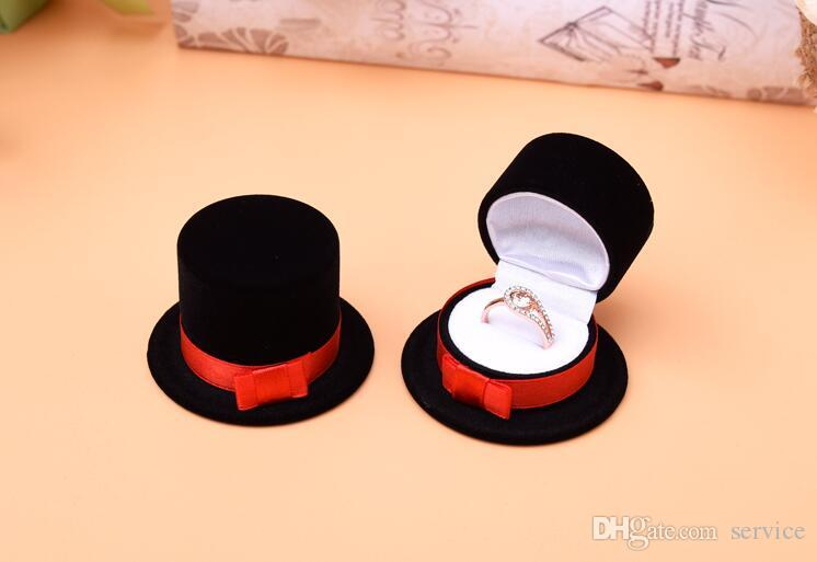 Formal hat Velvet Jewelry Ring/ Earring Gift Packaging Display Box For Wedding Jewelry Boxes 2017