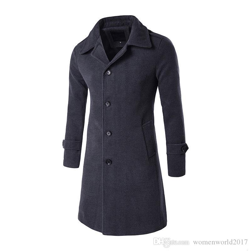New Arrival Wool Blend Suit long Coat Men's Casual Trench Coat Design Slim Fit Outerwear Jackets