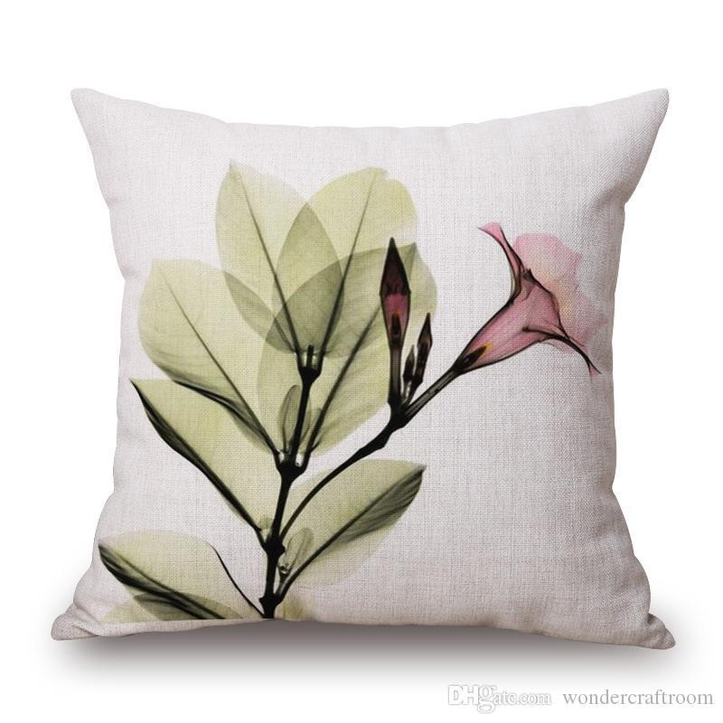 3D Stereo Effet d'aquarelle de fleur housses de coussin bleu pourpre rose de tulipe florale Taie d'oreiller Canapé-lin décoratifs coton Taie cadeau