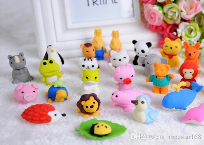 30 Style Mix Lovely Cartoon Animals Pencil Eraser Cute Rubber Correction Erasers Stationery School Supplies Kids Eco-Friendly Christmas