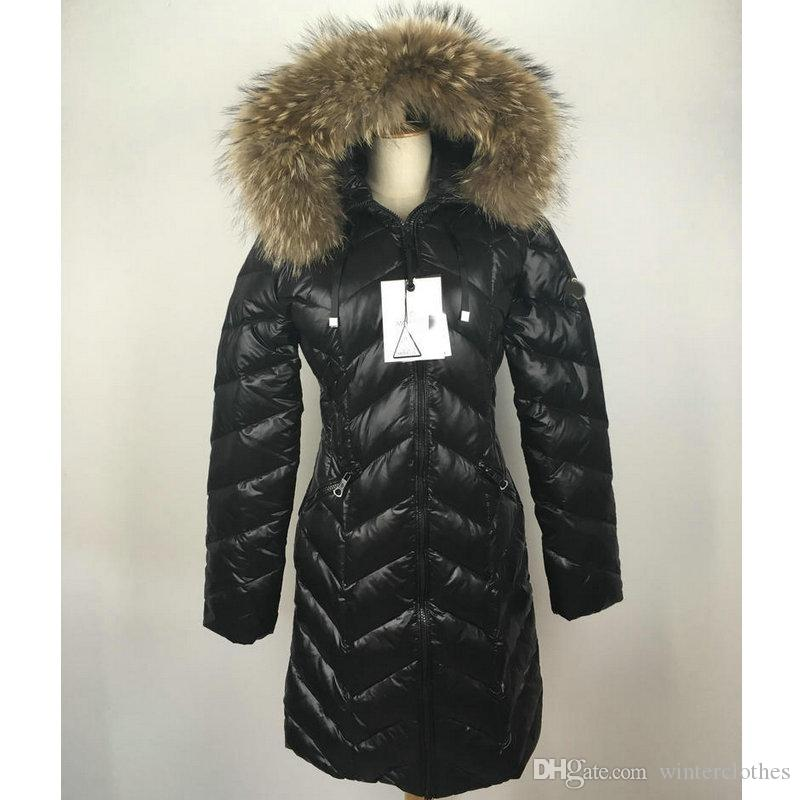2017 Fall Winter Long Down Coat Warm Puffy Duck Duvet Real Fur ...