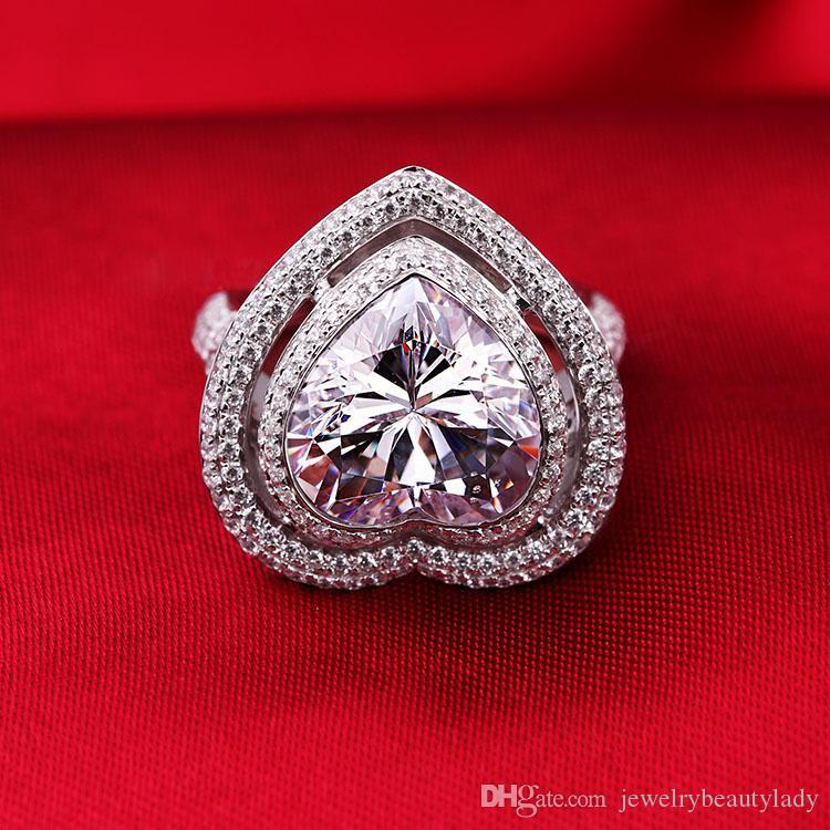 ForeverBeauty 4CT Herz Cut Diamant-Ring Halo Solitaire Verlobungsringe Damen Dainty Anniversary Wedding Band stapelbare Ring