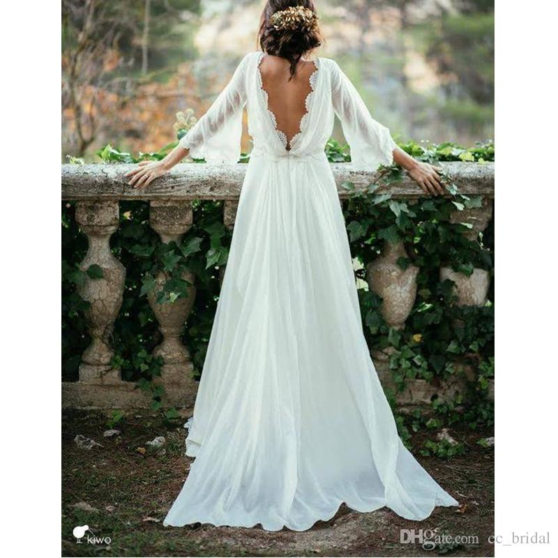 Cheap 3 4 Sleeve Wedding Dresses: Discount Elegant 3/4 Long Sleeve Backless Bohemian Wedding