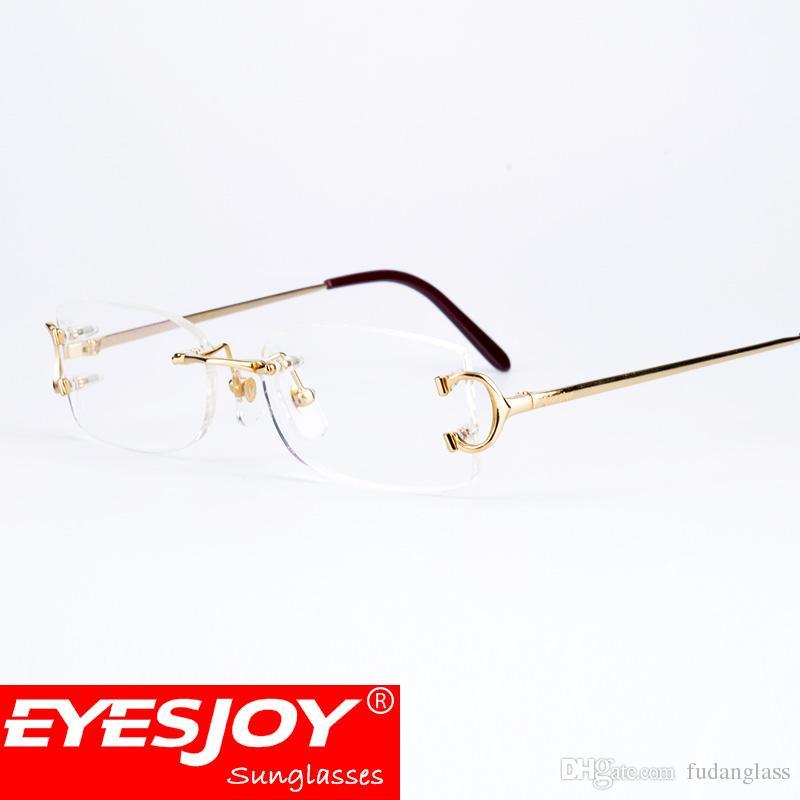 Eyeglasses Metal Glasses Rimless Frame For Men Women Gold Reading ...