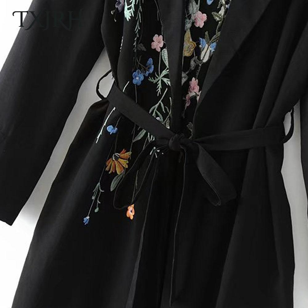 TXJRH Fashion Floral Print Embroidery Long Trench Cardigan Sashes Tied Bow Long Sleeve Coat Slim Outwear Turn-down Collar Tops