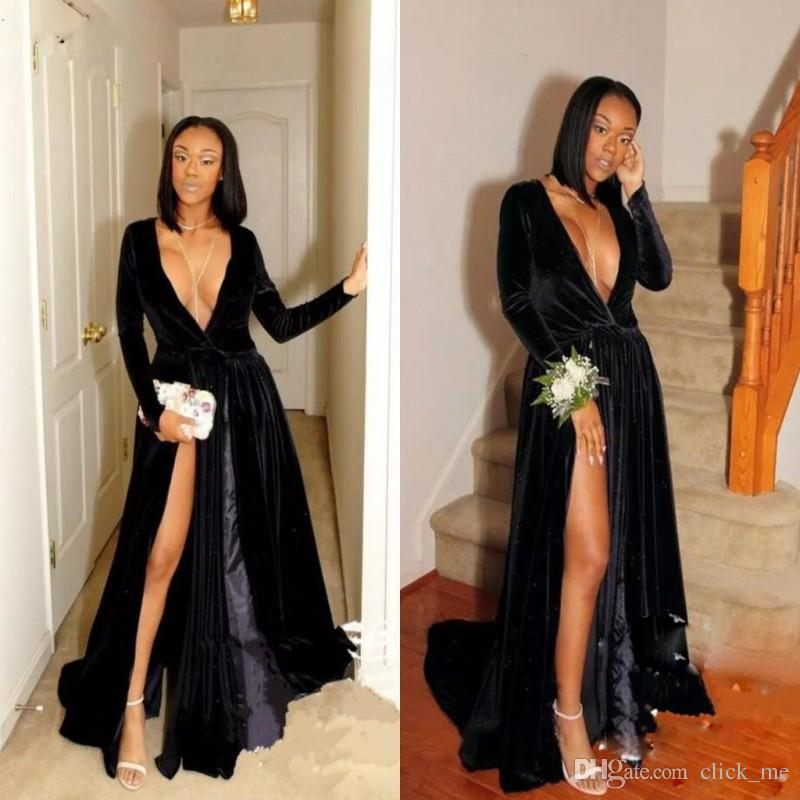Black Velvet Deep V Neck Evening Dresses Sleeves Side Split Long