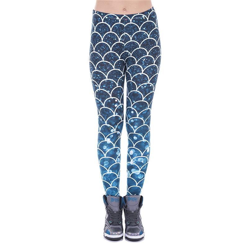 a4faf6cb67 2019 Women Leggings Mermaid Glitter Ombre 3D Graphic Print Lady Stretchy  Tight Capris Blue Pants Girls Workout Full Length Yoga Trousers J43470 From  ...