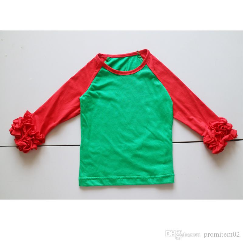 2018 Christmas Icing T Shirts Ruffle Long Sleeve Shirts Tees For ...