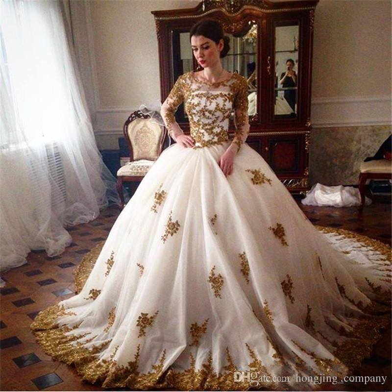 Luxury Arabic Ball Gown Gold Lace Evening Dresses Long Sleeves ...