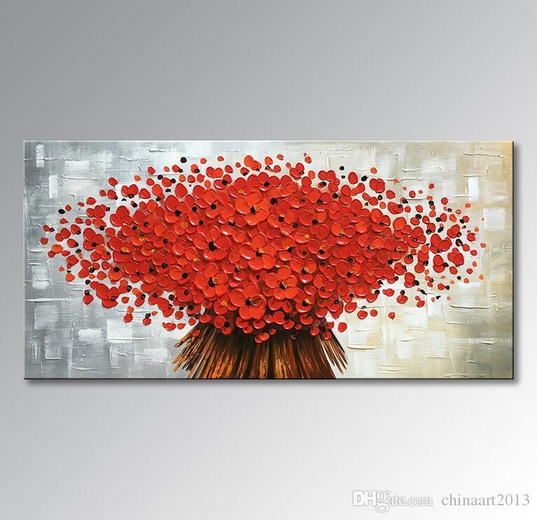 2018 No Framed Hand Painted Abstract Canvas Wall Art Modern Red ...